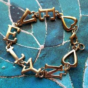 """Vintage """" Evelyn """" name bracelet gold tone hearts"""